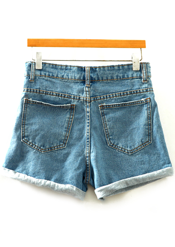 Cuffed Slim Denim Shorts Shein Sheinside