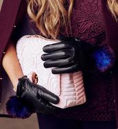 gloves,black gloves,leather gloves,bag,pink bag,ted baker