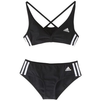 underwear adidas sportswear bra lingerie set black white black and white two-piece bra and underwear activewear bralette swimwear blak and white stripes cute adida two piece adidas originals stripes