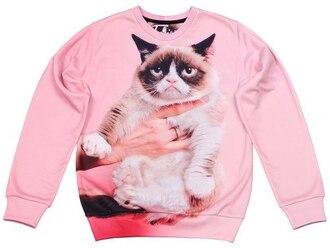 sweater pink sweater grumpy cat cats cat print pink cat sweater sweatshirt printed sweater fusion