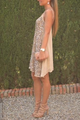 beige dress sequin dress shift dress party dress white dress nude sequin tankdress nude dress nude sequins short short dress