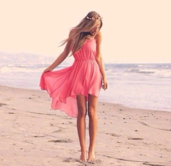 dress peach dress cute sweet perfection