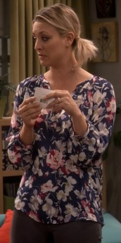 blouse,penny,silk,floral,top,blue,pink,joie,big bang theory,kaley cuoco