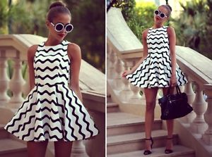 Retro black white zigzag chevron skater dress celeb summer short outfit formal