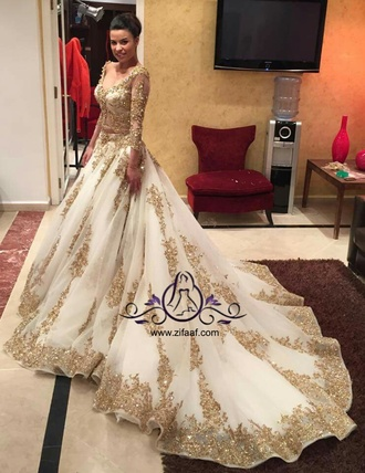 dress wedding bridal bride gown wedding clothes wedding dress gold embroidered embroidered dress sparkle train dress arabic