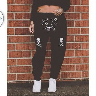 pants skull bones sad face tongue black white dope sweatpants joggers