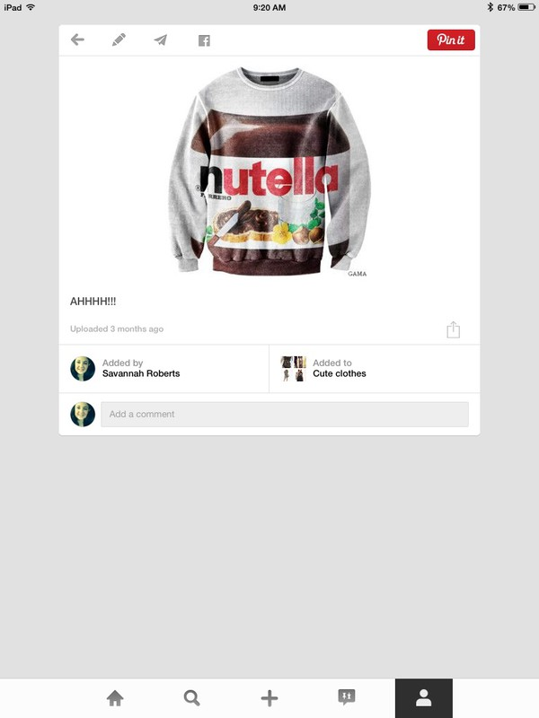 nutella cozy sweaters cute print food yum