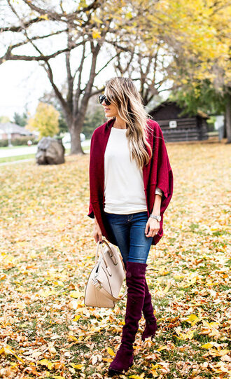 shoes red cardigan velvet over the knee boots tumblr red boots over the knee boots burgundy flat boots velvet velvet boots velvet shoes denim jeans blue jeans sweater white sweater cardigan bag nude bag
