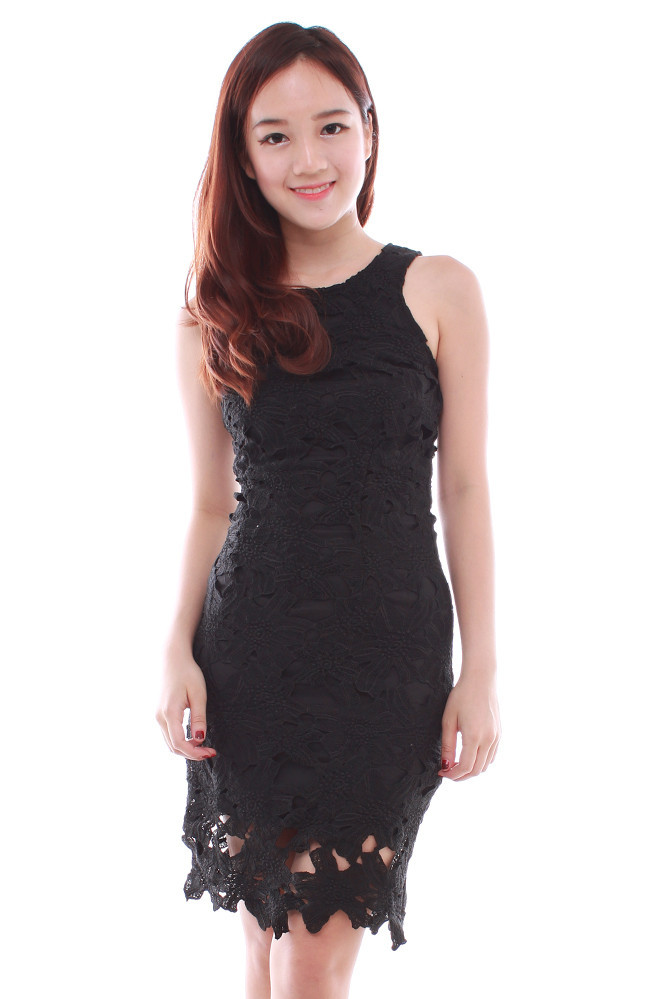 Out black lace bodycon dress