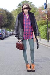 la petite anglaise,blogger,jacket,jeans,bag,sunglasses,leather jacket,lumberjack,shearling jacket,shirt,shoes