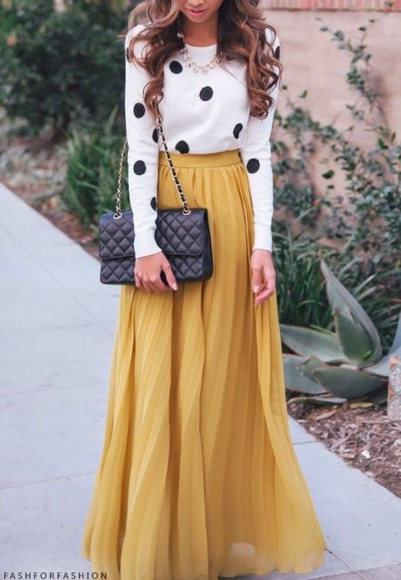 dress mustard maxi dress polka dots
