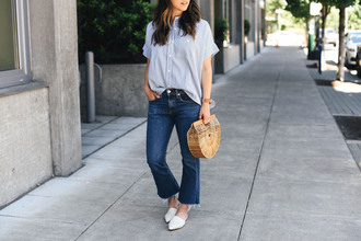 crystalin marie blogger shirt jeans bag hat jewels top loafers cropped flare jeans cropped bootcut jeans cult gaia bag summer outfits blue shirt