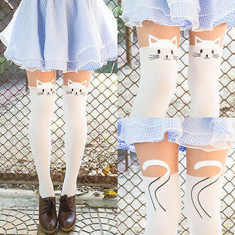 skirt kawaii stockings leggings cat leggings cats socks cat ears white kitten face shoes