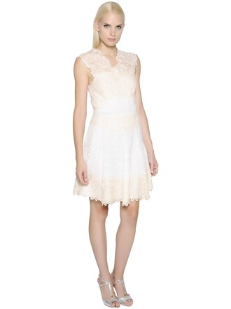 dress lace dress lace white beige