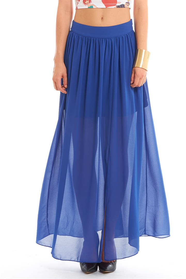 Chiffon Maxi Skirt - Royal Blue from ROXX at ShopRoxx.com