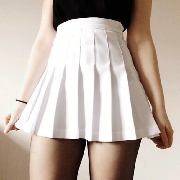 Skirt white tennis skirt tennis skirt white white tennis skirt cute kawaii cute skirt ...