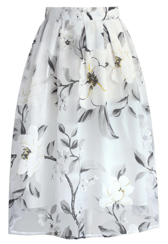 skirt chicwish blooming jasmine skirt midi skirt organza skirt organza jasmine chicwish.com floral skirt party skirt date outfit spring skirt