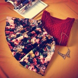 sweater skirt jewels floral floral skater skirt black floral skirt style stylish skirt shoes shirt roses burgundy winter sweater statement necklace winter outfits skirt flowers cardigan