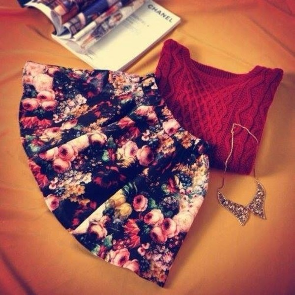 sweater skirt jewels floral floral skater skirt black floral skirt style stylish skirt shoes skirt shirt roses burgundy winter sweater statement necklace winter outfits skirt flowers cardigan
