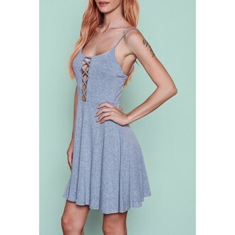 dress grey skater dress criss cross trendy hot rose wholesale-ma