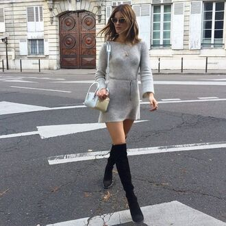 dress grey dress long sleeve dress over the knee boots black over theknee boots sweater dress