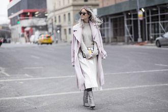 the fashion guitar blogger long coat pink coat grey boots white skirt sunglasses sweater coat bag shoes tights