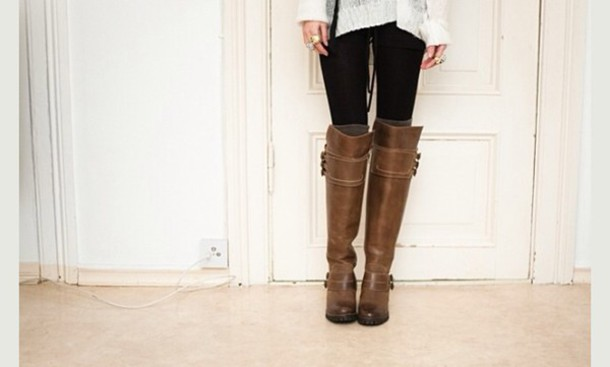 Shoes: riding boots, boots, brown leather boots, knee high boots ...