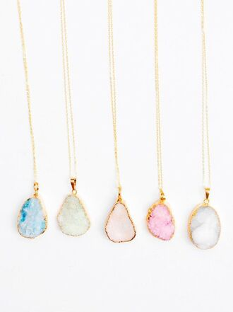 jewels gold pastel blue pink green white jewelry necklace glitter