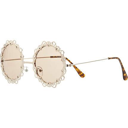 Gold tone metal filigree round sunglasses on Wanelo