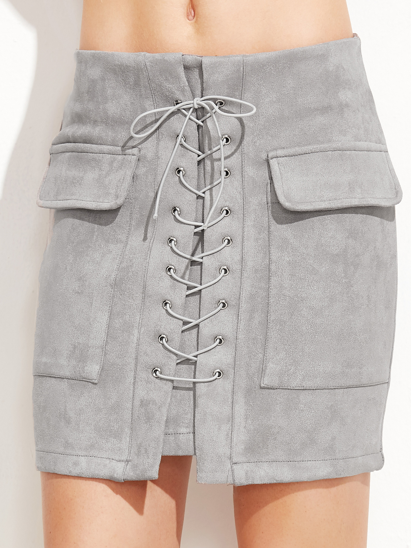 8aaedf6173 Light Grey Suede Lace Up Front Pockets Bodycon Skirt