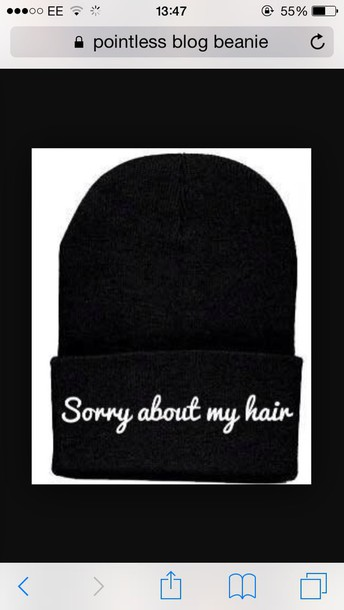 hat sorry about my hair beanie pointlessblog