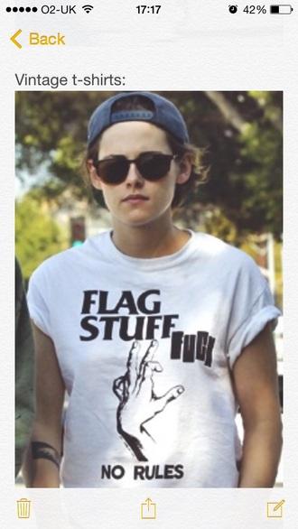 t-shirt kristen stewart white indie tumblr quoes casual white t-shirt