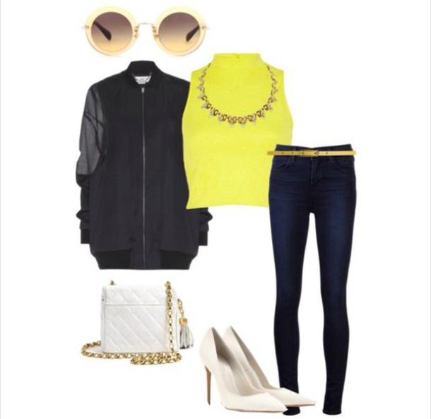 jacket bomber jacket black yellow crop tops jewels jeans stilettos bag top sunglasses shoes