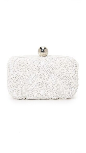 embroidered clutch white bag