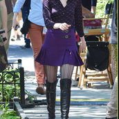 purple skirt,buckles,gwen stacy,pleated skirt,tights