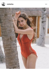 swimwear,red swimwear,violetta komishan