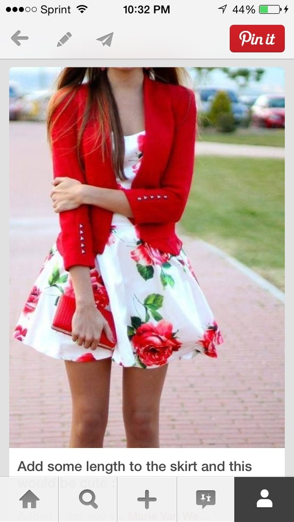 dress white red floral