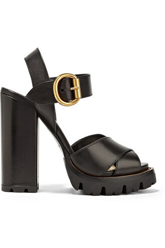 sandals platform sandals leather black shoes