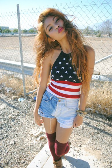 american flag top beautiful gyal knee high socks jeans shorts #summer #cool #want