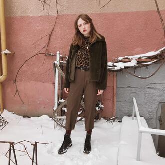 kristina magdalina blogger jacket top jewels pants shoes boots brown pants winter outfits faux fur jacket leopard print