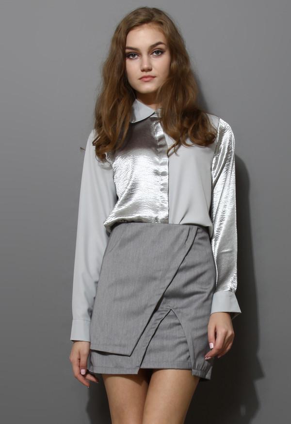 shirt silver crepe