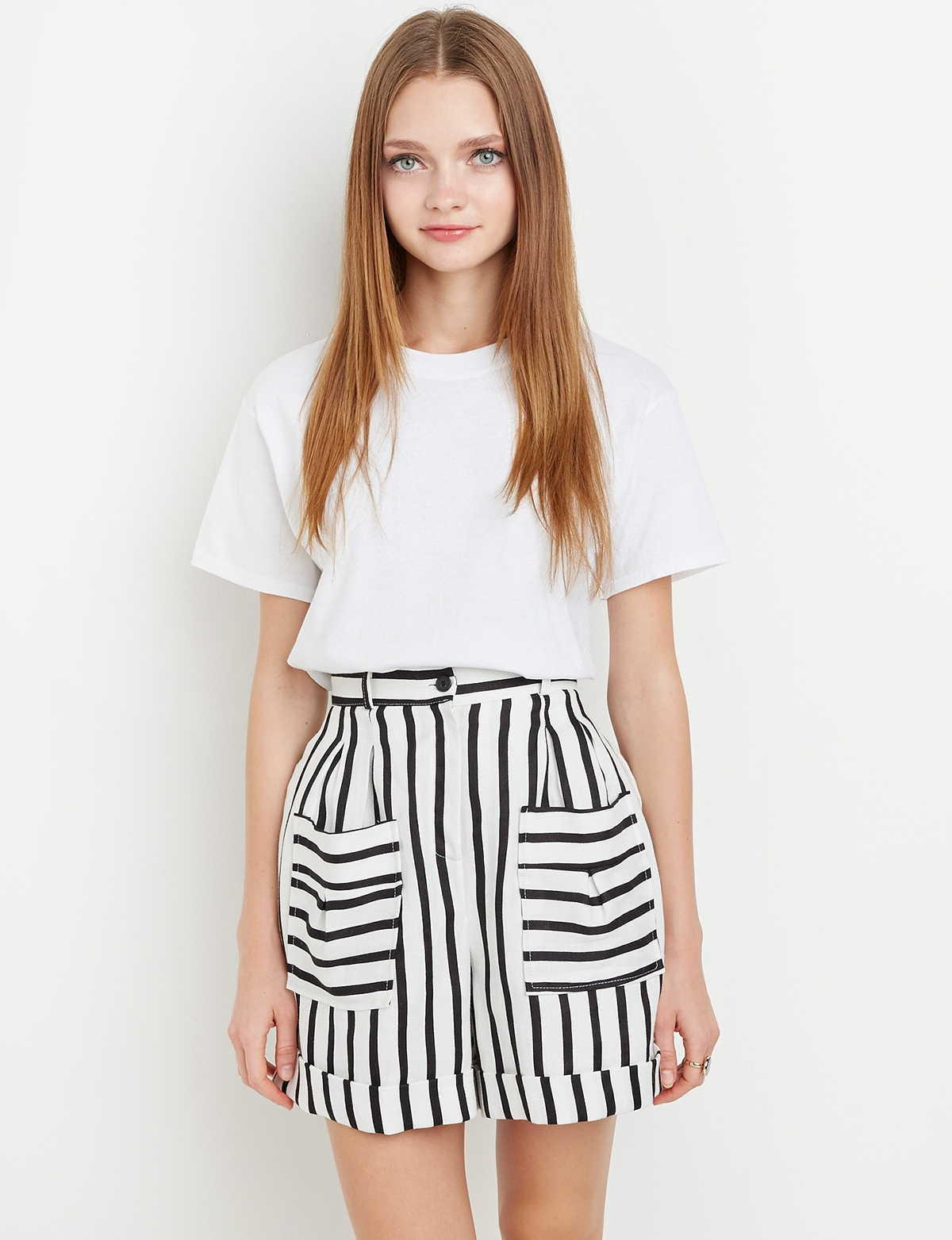 High Waisted Shorts - Black And White Shorts -