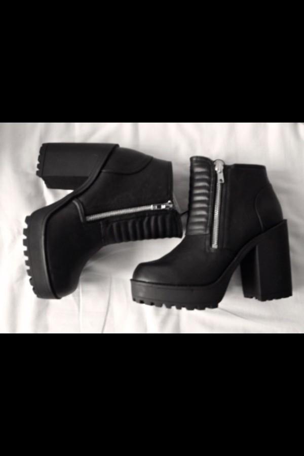 shoes black combat boots platform boots heels