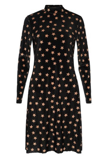 Topshop dress shift dress midi black velvet