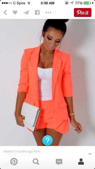 blouse peach blazer