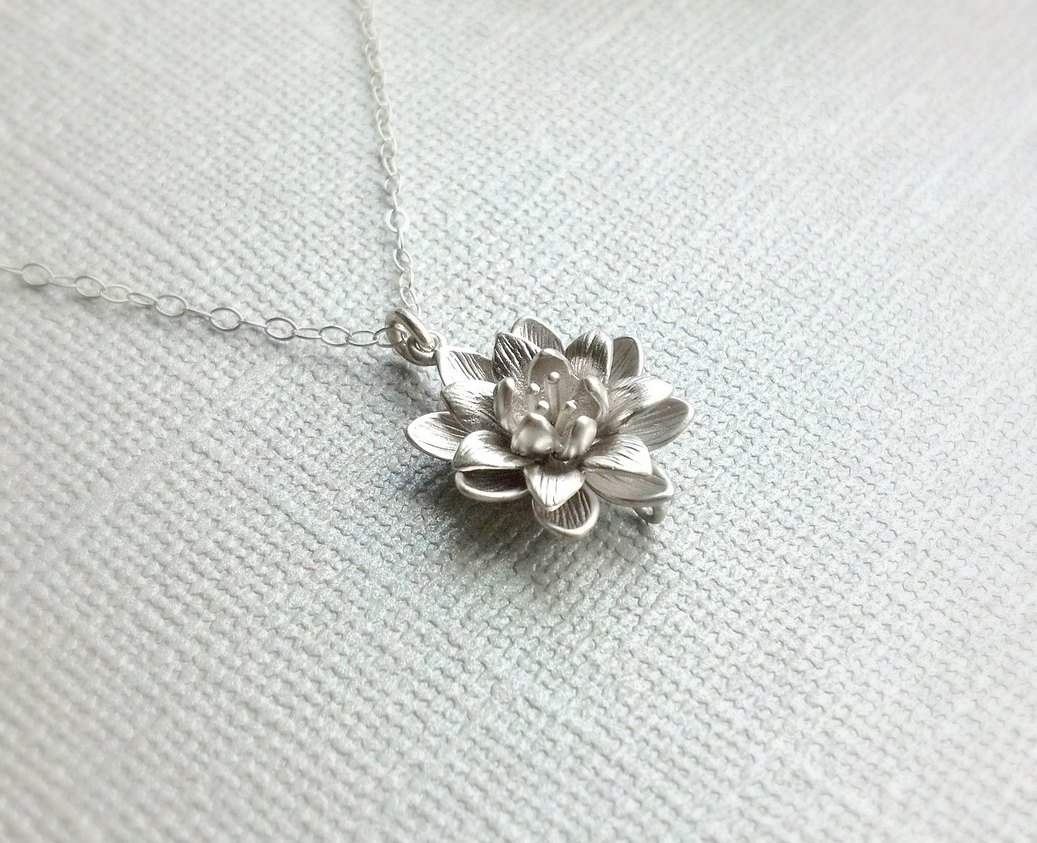 Back In Stock Small Silver Lotus Flower Necklacesimple Everyday