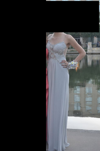 dress prom dress long gown light blue cutout back saks gown beaded