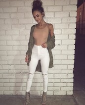 top,jacket,green long jacket,nude top,white jeans,nude one piece,white ripped jeans,classy,brown,nude,summer,fall outfits,bomber jacket,green,bodysuit,pants,green jacket,nude bodysuit,white pants,olive green heels,jeans