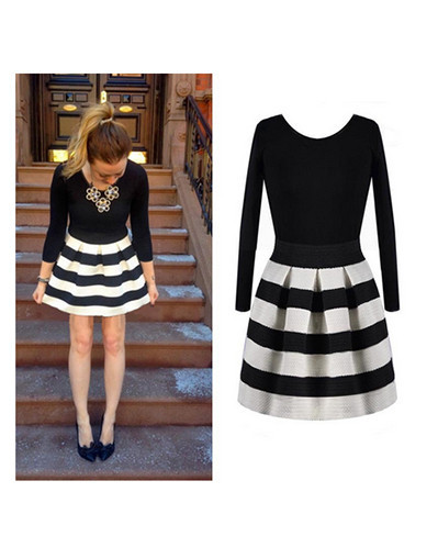 Striped casual dress winter knitted o