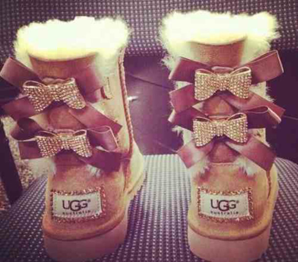 ugg boots, bows, bailey bow, shoes, ugg boots, brown ugg boots with bows and crystals ls, boots, gold, brown leather boots, fluffy, rhinestone bows, beige, ...